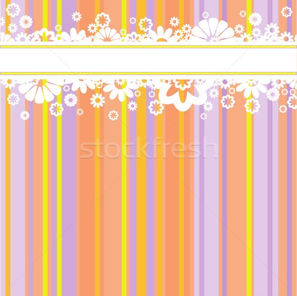 Beyaz çiçekler renkli şeritler yatay şerit Stok fotoğraf © Oksvik