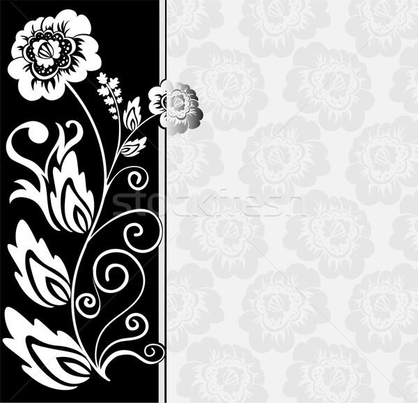 черно белые аннотация цветы цветочный Элементы лист Сток-фото © Oksvik