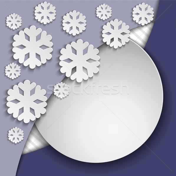 Blauw frame sneeuwvlokken papier sneeuw Stockfoto © Oksvik