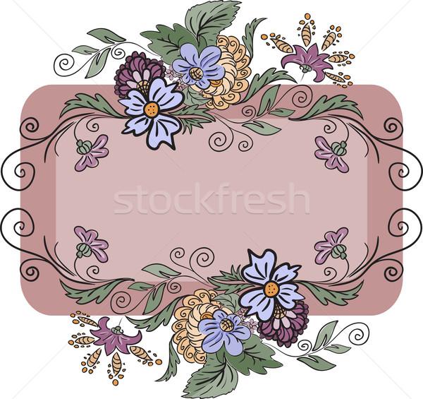 horizontal floral frame Stock photo © Oksvik