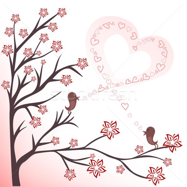 Szeretet madarak kettő virágzó ágak énekel Stock fotó © Oksvik
