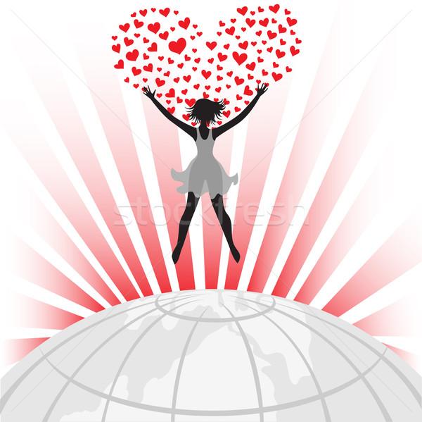 Silhouet wereldbol vrouwelijke groot hart wereld Stockfoto © Oksvik