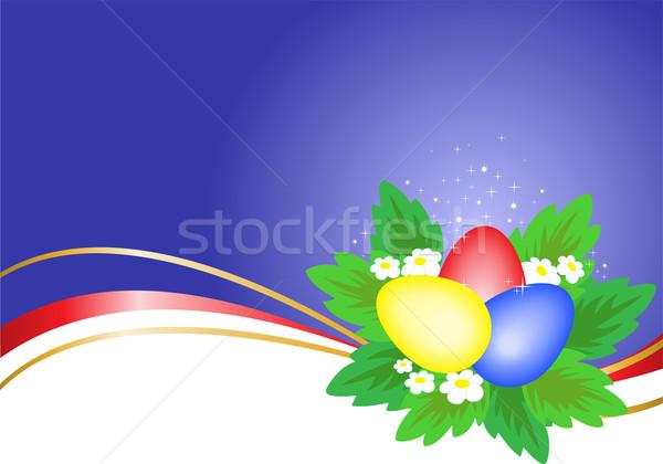 три пасхальных яиц синий волнистый Сток-фото © Oksvik