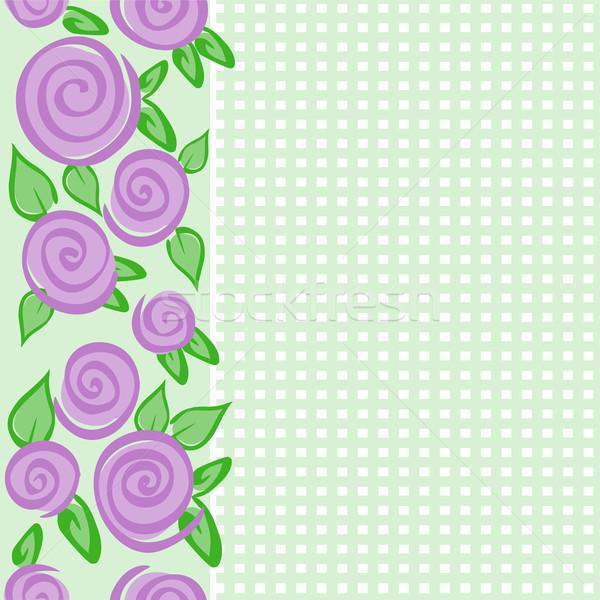 вертикальный границе роз зеленый бесшовный шаблон Сток-фото © Oksvik