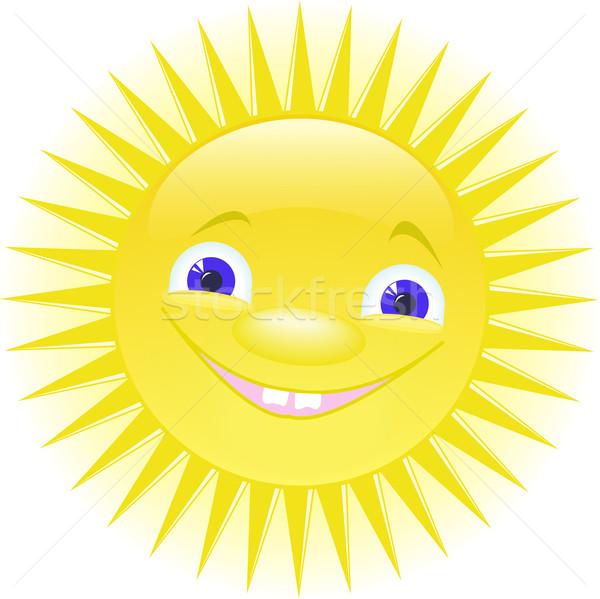 Foto stock: Sol · funny · sonriendo · ojos · azules · playa · cielo