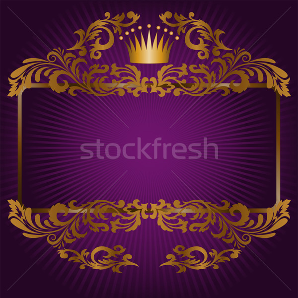 Kraliyet semboller mor muhteşem çerçeve altın Stok fotoğraf © Oksvik