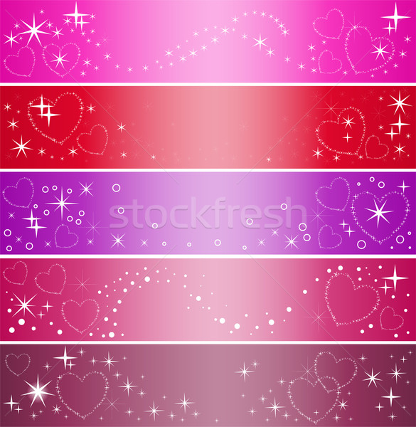 Stock photo: five banner with hearts