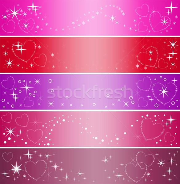 Vijf banner harten ingesteld kleurrijk partij Stockfoto © Oksvik