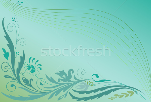 Floral ornement coin gradient turquoise design Photo stock © Oksvik