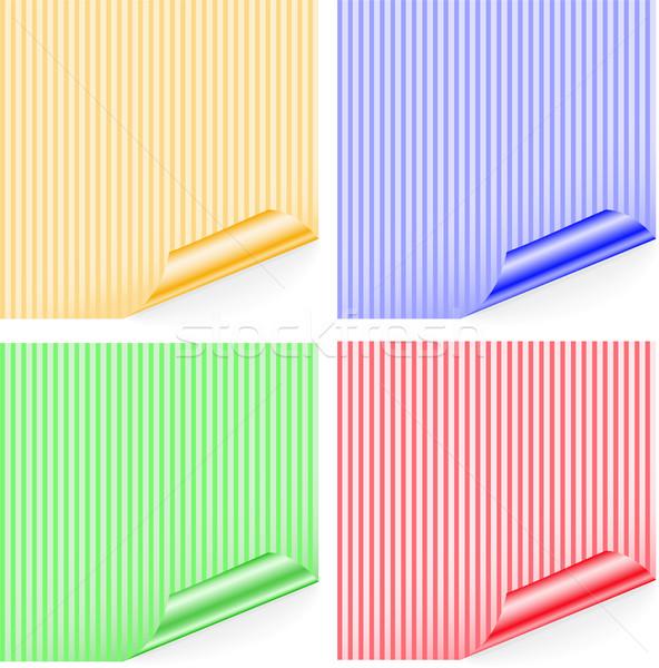 Gestreept stickers vier gekleurd sticker gekruld Stockfoto © Oksvik