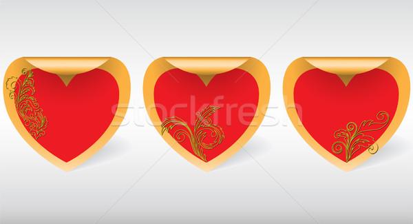 сердцах три Swirl наклейку Сток-фото © Oksvik