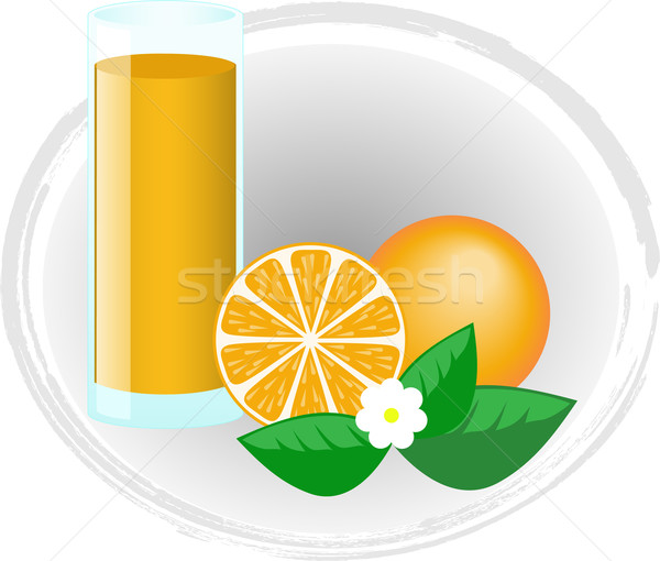 Foto stock: Jugo · de · naranja · frutas · flores · naranja · vidrio · jugo