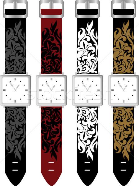 Ingesteld vier kleurrijk business hand klok Stockfoto © Oksvik