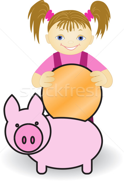 девушки Piggy Bank Cartoon монеты окна золотая монета Сток-фото © Oksvik