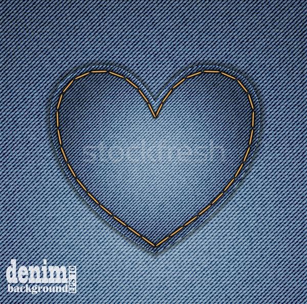 Denim hart Blauw wenskaart valentijnsdag textuur Stockfoto © Oksvik