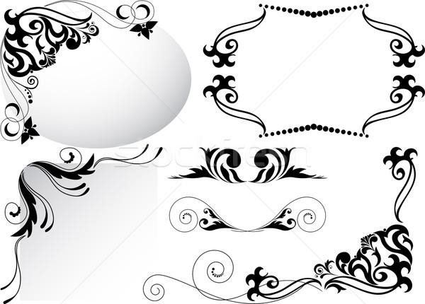 Ingesteld zwarte ornamenten hoek papier abstract Stockfoto © Oksvik