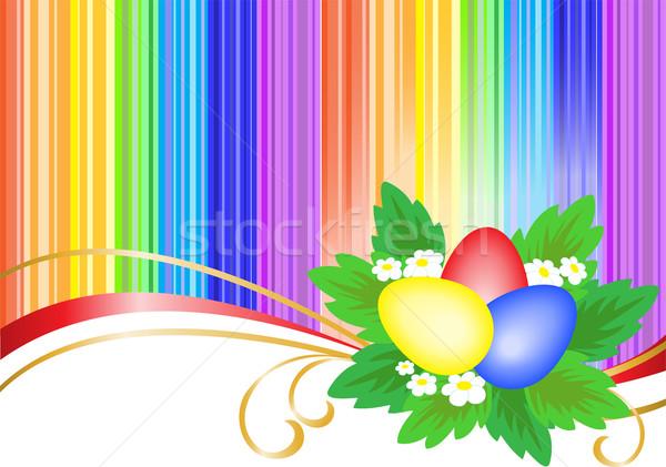три пасхальных яиц ярко радуга Сток-фото © Oksvik