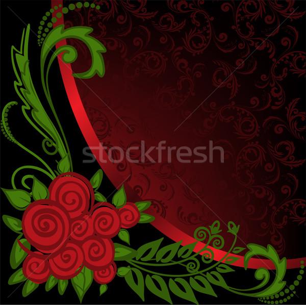 Foto stock: Negro · rojo · adornos · rosas · boda · fondo