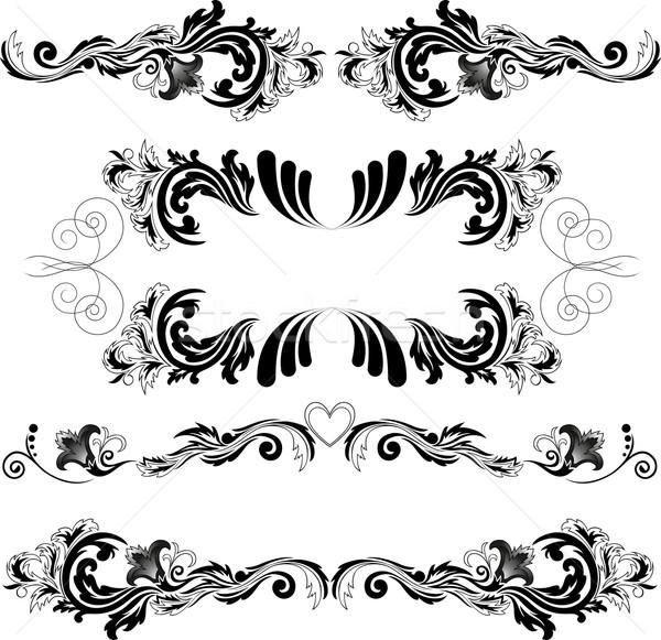 セット 対称の 4 黒 抽象的な ストックフォト © Oksvik