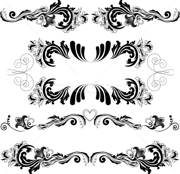 Ingesteld symmetrisch ornamenten vier zwarte abstract Stockfoto © Oksvik