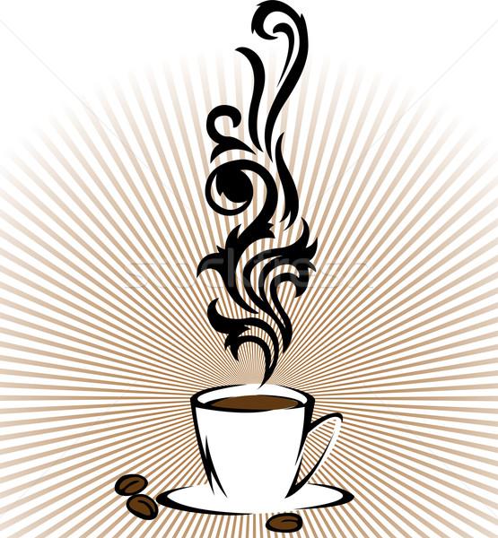 Beker koffie gestileerde wolken stoom abstract Stockfoto © Oksvik