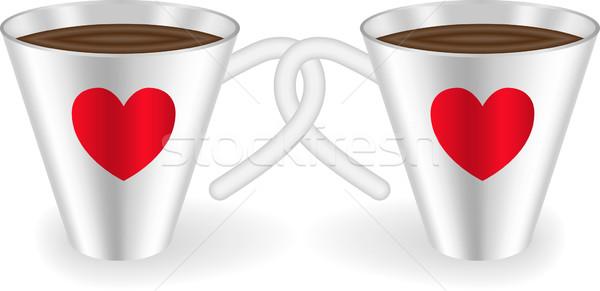 Kalpler iki dekore edilmiş kalp çikolata Stok fotoğraf © Oksvik