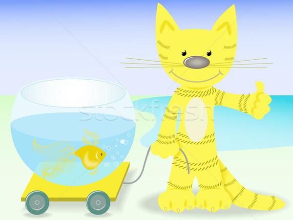 Katze Goldfisch rot Glück Warenkorb Aquarium Stock foto © Oksvik