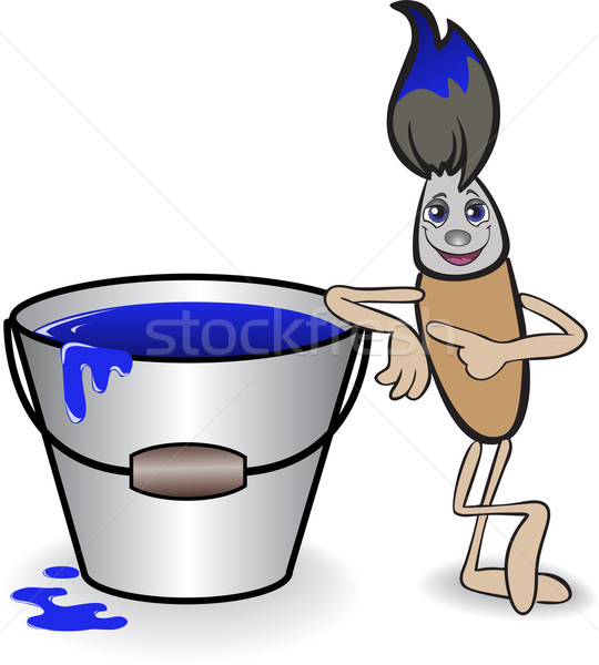 Brush and a bucket of blue paint Stock photo © Oksvik