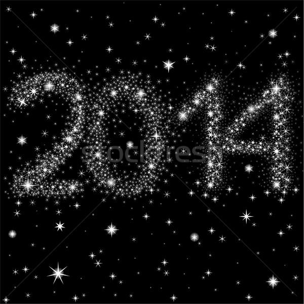 Yeni yıl gökyüzü gece gökyüzü 2014 Stok fotoğraf © Oksvik