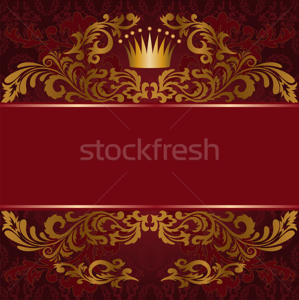 Red background with gilded ornament Stock photo © Oksvik