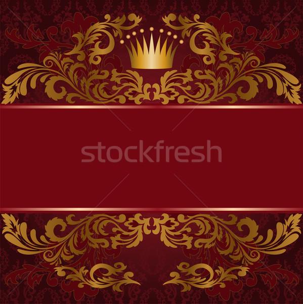 Kırmızı yaldızlı süs karanlık arka plan Stok fotoğraf © Oksvik