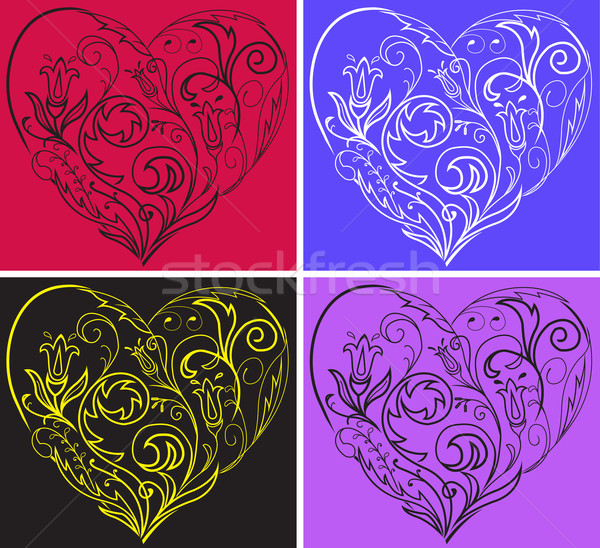 Stock photo: Set filigree hearts