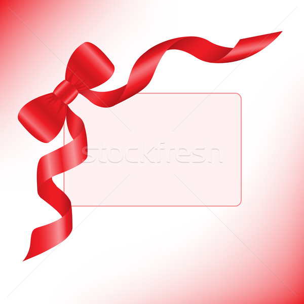 Red ribbon with a card Stock photo © Oksvik