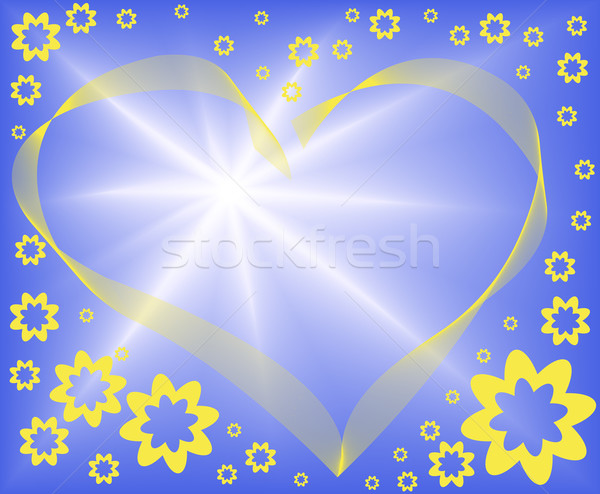 abstract blue background with heart Stock photo © Oksvik