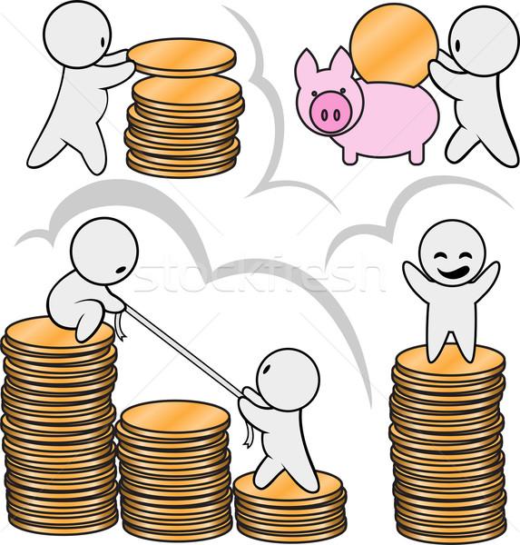 мужчин деньги многие Золотые монеты бизнеса евро Сток-фото © Oksvik