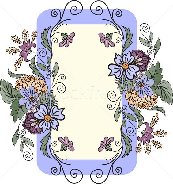 вертикальный цветочный кадр лист синий обои Сток-фото © Oksvik