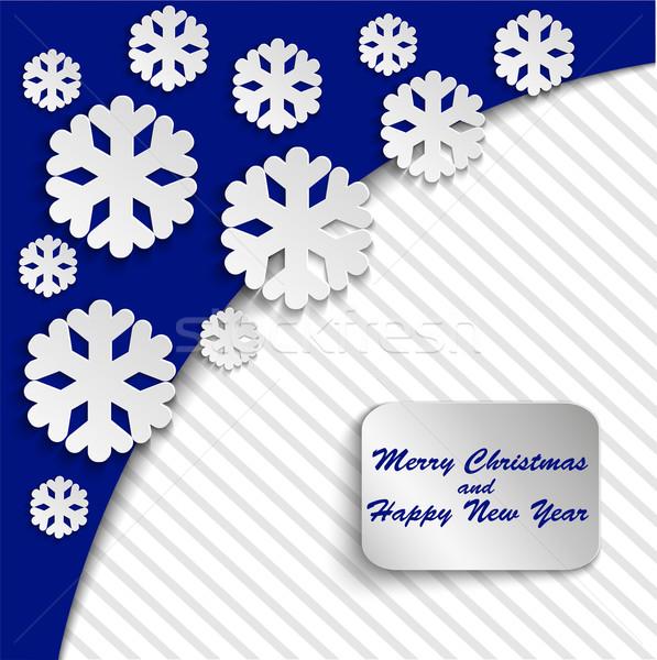 синий бумаги кадр снега Сток-фото © Oksvik