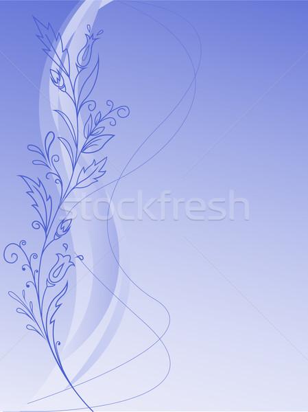 Vegetation pattern on a blue background Stock photo © Oksvik