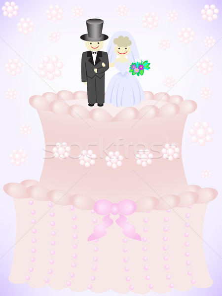 Esküvői torta menyasszony vőlegény virág étel buli Stock fotó © Oksvik