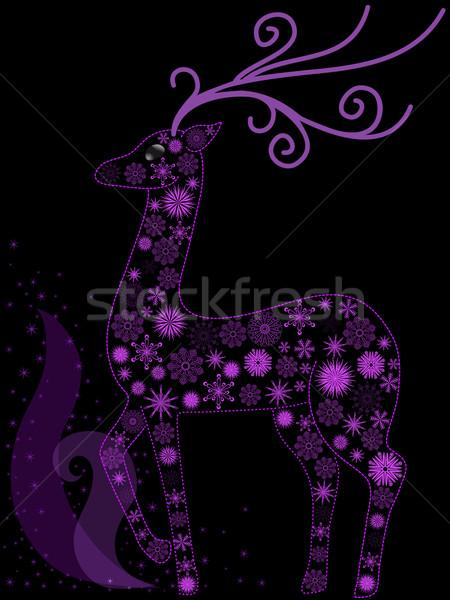 Christmas herten mooie paars sneeuwvlokken abstract Stockfoto © Oksvik