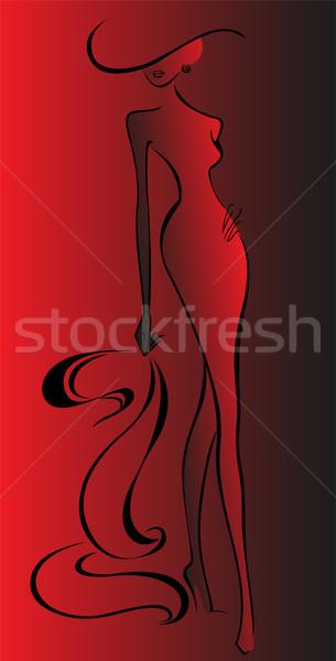 Vrouw Rood silhouet slank lopen hoed Stockfoto © Oksvik