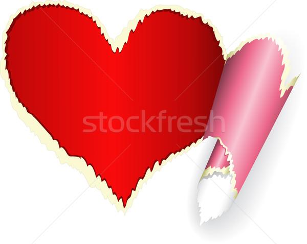 сердце рваной бумаги красный Torn пространстве карт Сток-фото © Oksvik