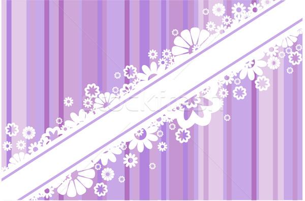 Witte bloemen strips diagonaal band paars achtergrond Stockfoto © Oksvik