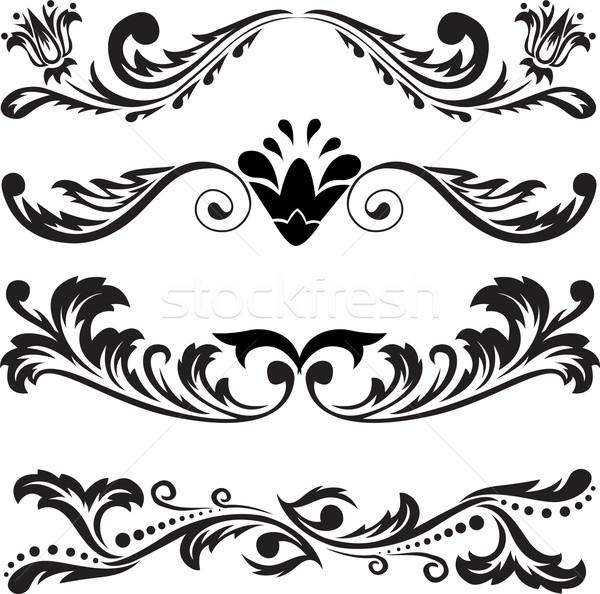 Establecer simétrico adornos cuatro negro resumen Foto stock © Oksvik
