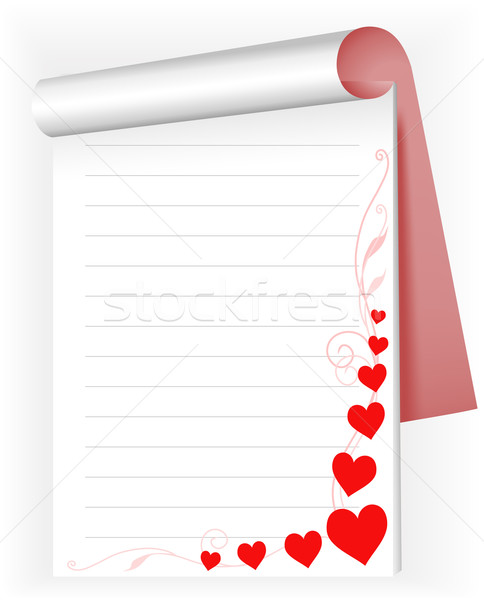 ноутбук сердцах открытых блокнот красный розовый Сток-фото © Oksvik