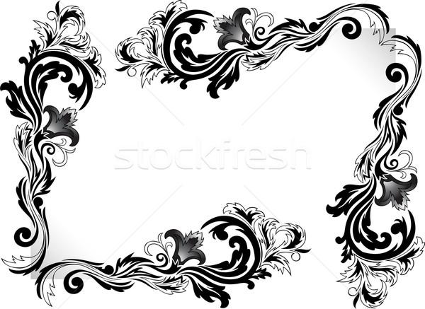 Dekoratif köşeler ayarlamak siyah köşe süsler Stok fotoğraf © Oksvik