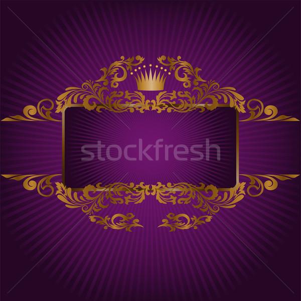 Banner koninklijk symbolen horizontaal frame goud Stockfoto © Oksvik