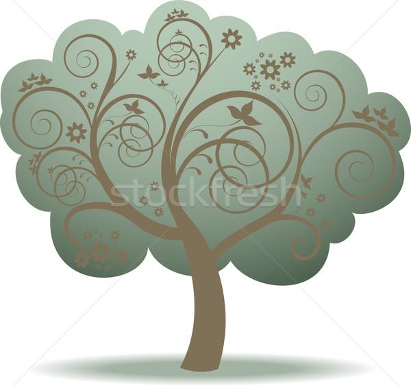 Groene boom fantasie bloemen boom voorjaar bos Stockfoto © Oksvik