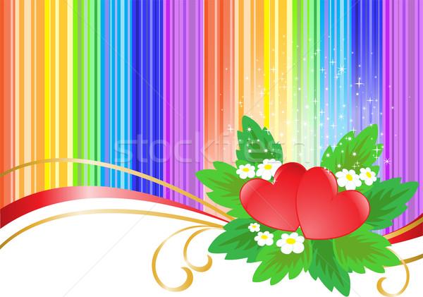Twee harten regenboog gestreept bruiloft hart Stockfoto © Oksvik