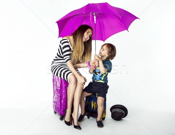 Belle mère fils souriant mode posant Photo stock © oleanderstudio